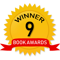Gold sticker and red ribbon signifying book award winner count.